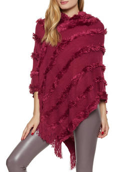 Hooded Faux Fur Striped Poncho - 3125067443915