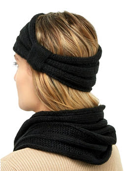 Knit Snood and Knot Front Head Wrap - 3125067444929