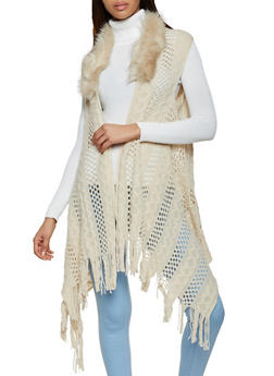 Faux Fur Trim Fringe Knit Vest - 3125067446083