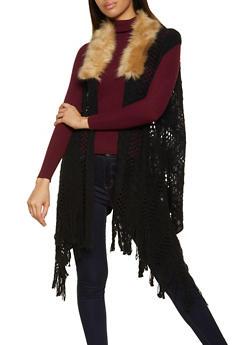 Faux Fur Trim Fringe Knit Vest - 3125067446083