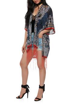 Open Front Printed Kimono - 3125067447003