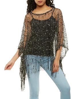 Crochet Fringe Poncho - 3125067447036