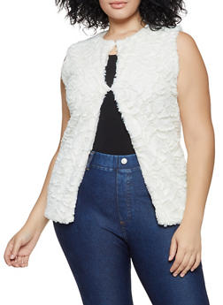 Floral Faux Fur Vest - 3125067447799