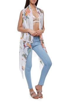 Floral Chiffon Fringe Vest - 3125067448055
