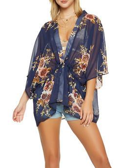 Floral Tie Front Kimono - 3125067448061