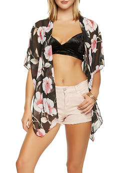 Sheer Floral Kimono - 3125067448062