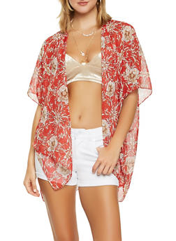 Sheer Floral Kimono - 3125067448063