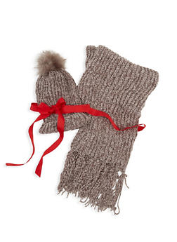 Chenille Pom Pom Hat and Scarf Set - 3125067448411