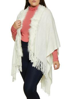 Faux Fur Trim Fringe Shawl - 3125067448899