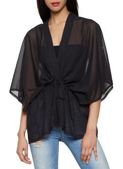 Solid Sheer Kimono - 3125067449012
