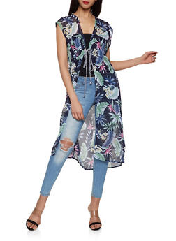 Sleeveless Floral Duster - 3125067449019