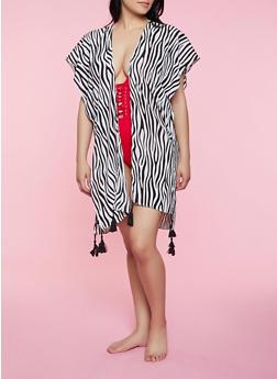 Zebra Print Tassel Kimono - 3125067449035