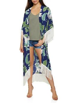 Floral Crepe Knit Kimono - 3125067449046