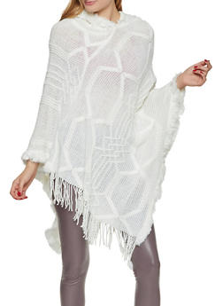 Hooded Knit Poncho - 3125067449314