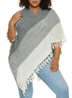 Striped Tassel Trim Poncho - 3125067449904