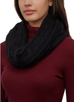Solid Cable Knit Infinity Scarf - 3125071212012