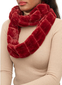 Faux Fur Striped Infinity Scarf - 3125074391222