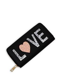 Love Glitter Graphic Zip Wallet - 3126018431009