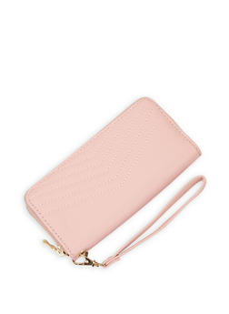 Chevron Stitch Zip Wallet - 3126061593772