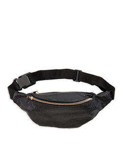 Crinkled Metallic Faux Leather Fanny Pack - 3126067440607