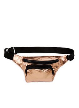 Faux Leather Double Zip Fanny Pack - 3126067440701