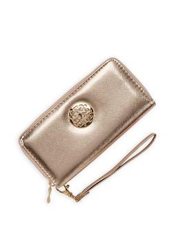 Metallic Detail Faux Leather Zip Wallet - 3126067440702