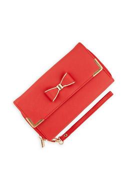 Double Zip Bow Flap Wallet - 3126067441612