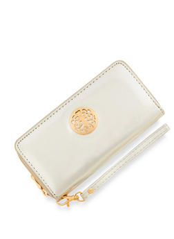 Zip Around Wallet with Metallic Medallion - 3126067442007