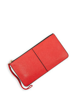 Faux Leather Zip Wallet - 3126067442208