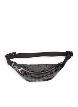 Textured Faux Leather Fanny Pack - BLACK - 3126067442308