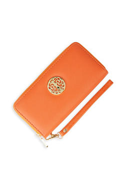 Metallic Emblem Zip Wallet - 3126067445220