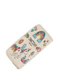 Rainbow Unicorn Graphic Wallet - WHITE - 3126067445308