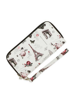 Paris Print Zip Around Wallet - 3126067447014