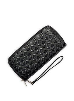 Heart Embossed Double Zip Wallet - 3126067447026