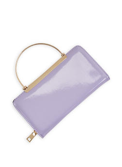Faux Leather Wallet with Metallic Handles - 3126067447110