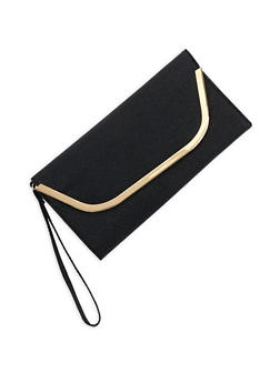 Faux Leather Metallic Edge Clutch - 3126067447162