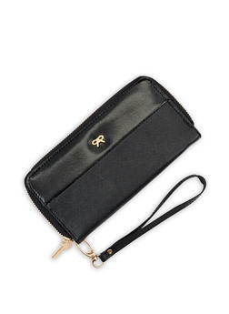 Faux Leather Bow Double Zip Wallet - 3126067447164