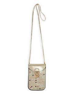 Rhinestone Studded Crossbody Bag - 3126067448008