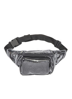 Mesh Interior Clear Fanny Pack - BLACK - 3126067448018