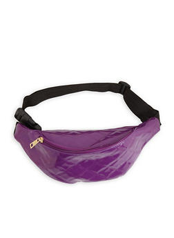 Quilted Faux Patent Leather Fanny Pack - PURPLE - 3126067448035