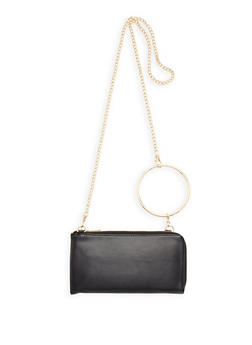 O Ring Detail Faux Leather Clutch - 3126067448042