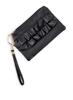 Ruffled Faux Leather Wristlet - 3126067448047