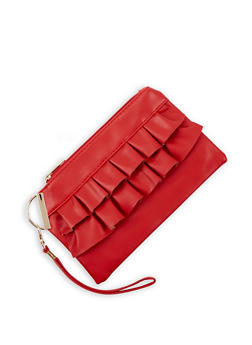 Ruffled Faux Leather Wristlet - 3126067448047