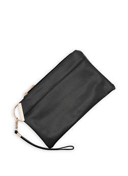 Faux Leather Wristlet - 3126067448048