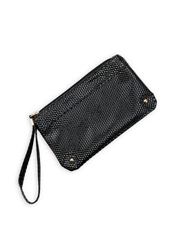 Textured Faux Patent Leather Wristlet - 3126067448050