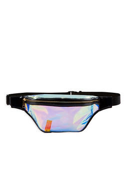Large Iridescent Fanny Pack - Silver - 3126067448096