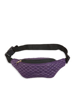 Quilted Faux Leather Fanny Pack - 3126067448555