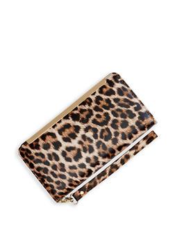 Animal Print Flap Wristlet - Brown - 3126067449030
