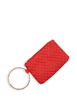 Quilted Metallic Ring Wristlet - 3126067449034