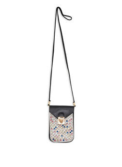 Rhinestone Studded Slim Crossbody Bag - 3126067449035